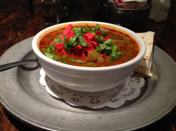Red and Green Chile Posole recipe suggested serving